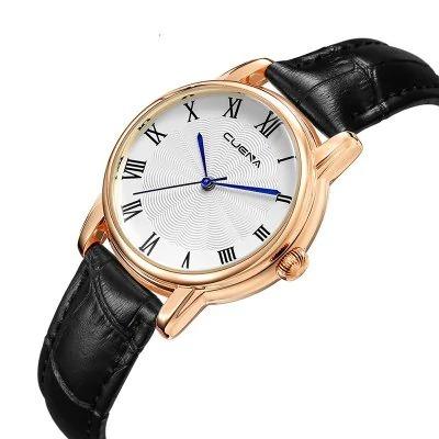 promoção relógio cuena black 6901 couro