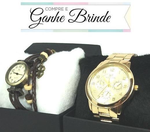 aeb1678d54e Promoção Relógio Feminino Dourado Várias Cores + Brinde - R  38