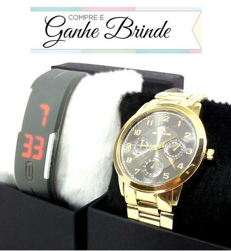 e52533234c3 Promoção Relógio Feminino Dourado Várias Cores + Brinde - R  36