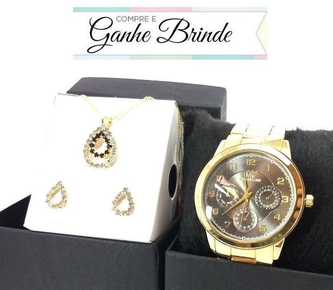 c0f6b11c553 Promoção Relógio Feminino Dourado Várias Cores + Kit Brinde - R  38 ...