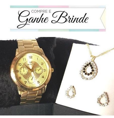 bc06fd8d352 Promoção Relógio Feminino Dourado Várias Cores + Kit Brinde - R  36 ...
