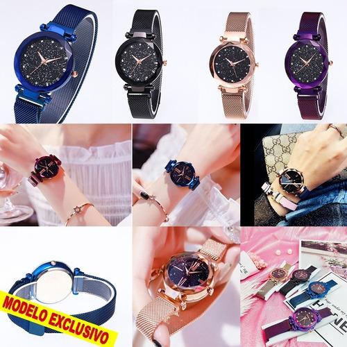 promoção relógio feminino elegante pulseira magnética strass