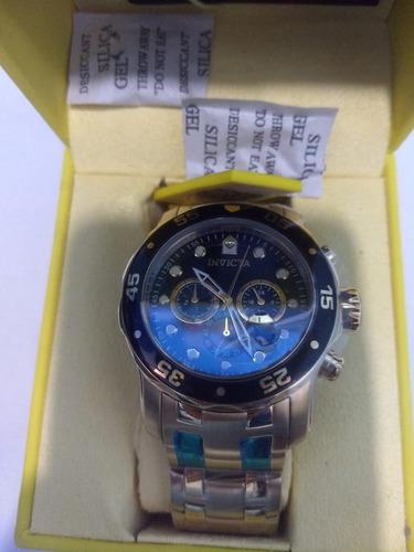 promoção -relógio invicta original pro diver 0072 b.ouro 18k