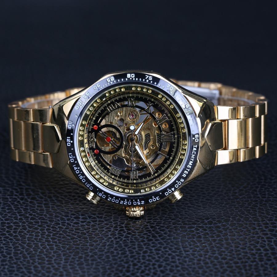 5d80d288b98 promoção relógio masculino automático dourado aço original. Carregando zoom.