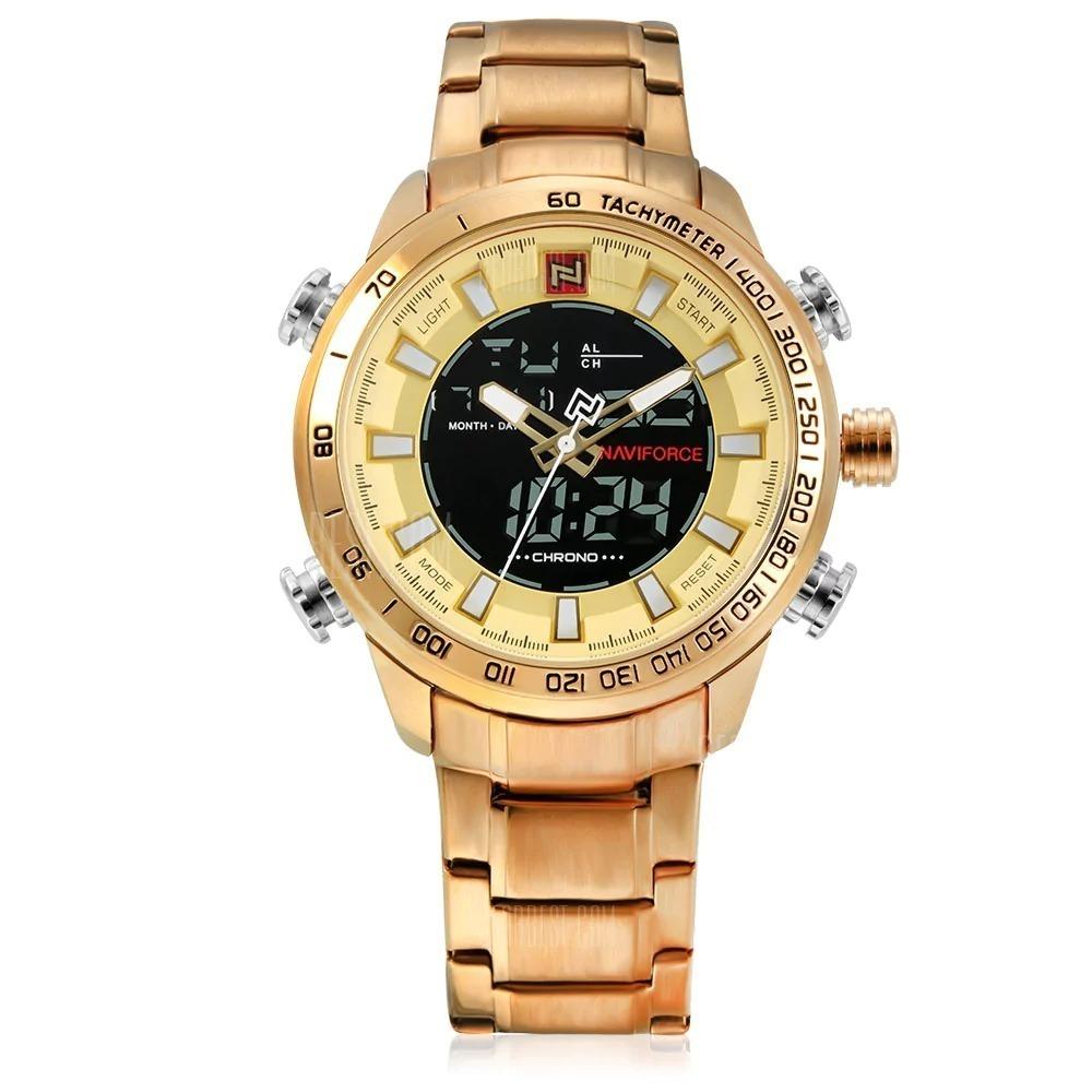 e0dcce0a499 promoção relógio masculino dourado original - naviforce 9093. Carregando  zoom.