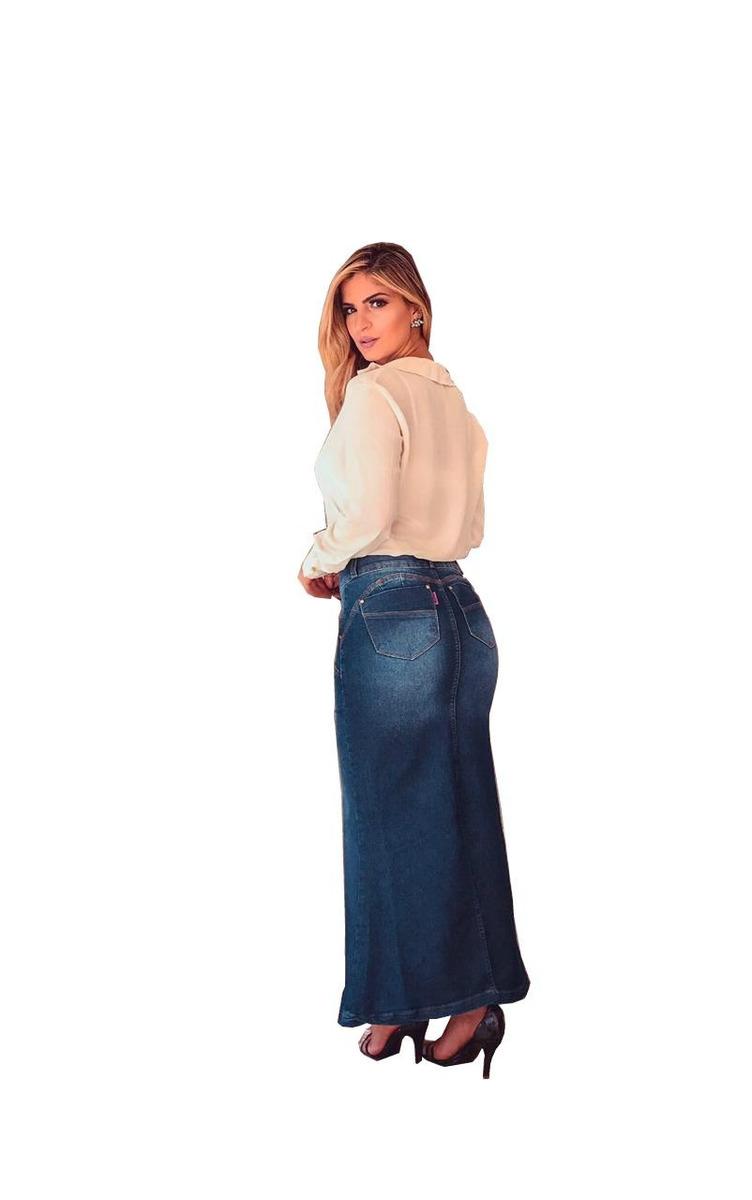 ffc435a5d5 promoção saia longa jeans com lycra moda evangélica ref073. Carregando zoom.