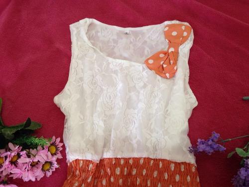 promoção vestido de bolinha branco e laranja coral c renda