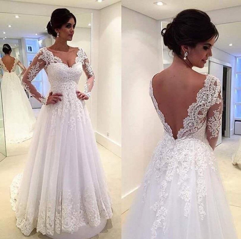 519a3f85b promoção vestido de noiva casamento manga longa  fli-58 . Carregando zoom.