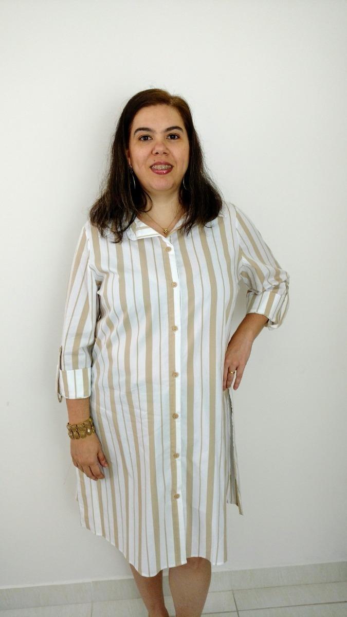 Promoção Vestido Feminino Plus Size Estilo Camisa Listrado
