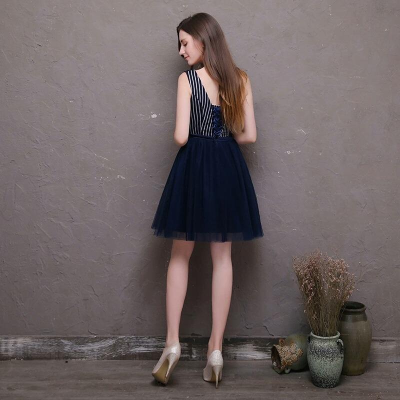 0294dd250 promoção vestido festa azul marinho listrado(frete grátis). Carregando zoom.
