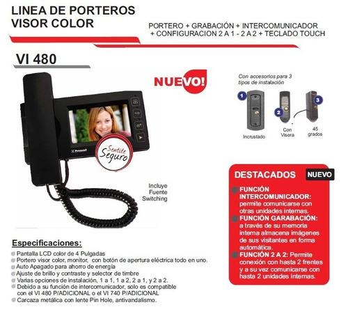 pronext - portero vi 480 visor lcd 4 hd color antivandalismo