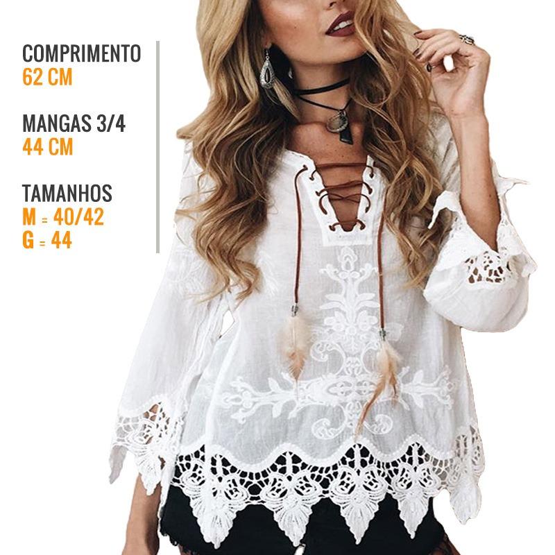 d014eb623 pronta entrega blusa bata feminina algodão bordado e guipir. Carregando  zoom.