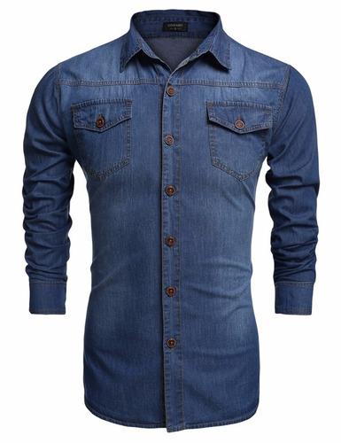 pronta entrega / tamanho g  / camisa masculina jeans
