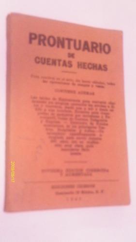 prontuario de cuentas hechas , año 1943