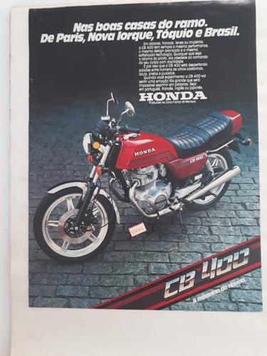 propaganda antiga anúncio publicidade moto honda cb 400 1981