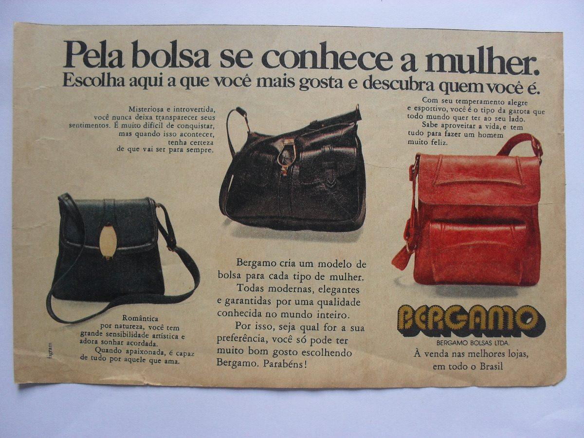 7cbaf2ae6 propaganda antiga bolsas bergamo 20 x 13 cm junho/1973. Carregando zoom.