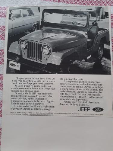 propaganda antiga jeep ford 1970 raro publicidade coleção