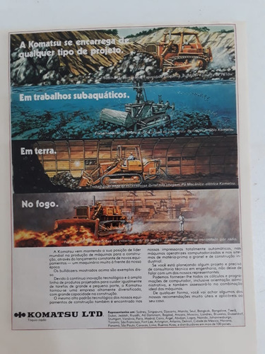 propaganda antiga trator komatsu publicidade raro