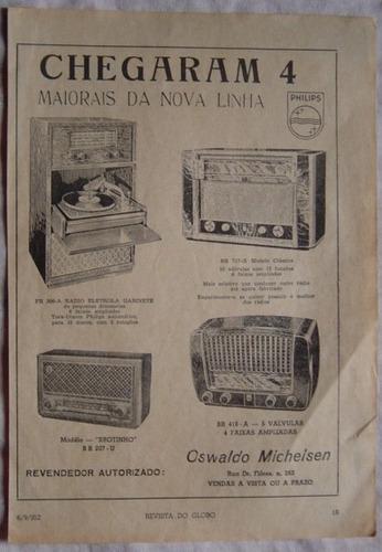 propaganda nova linha philips  revista do globo - 1952.