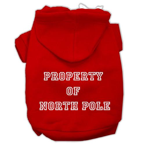 propiedad de norte pole pantalla impresión pet hoodies rojo