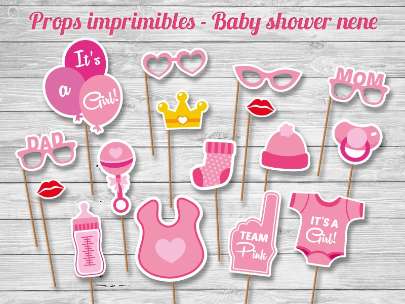 Props Juegos Imprimibles Baby Shower Photo Booth Carteles 230
