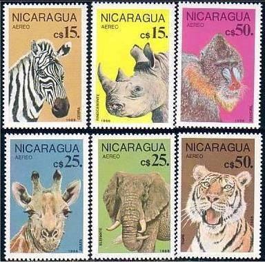 protección fauna salvaje - nicaragua - serie mint (mnh)