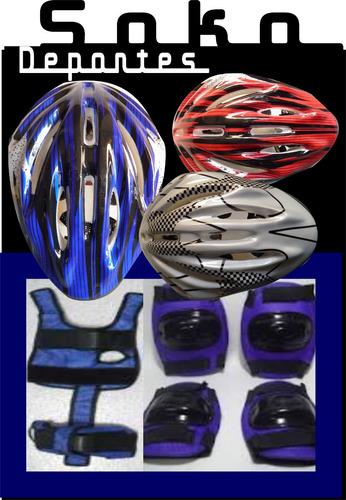 protecciones + casco - rodilleras - coderas - guantes