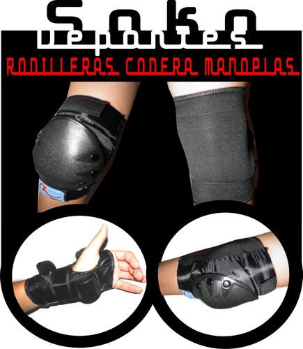 protecciones + casco rodilleras coderas muñeq. roller, skate