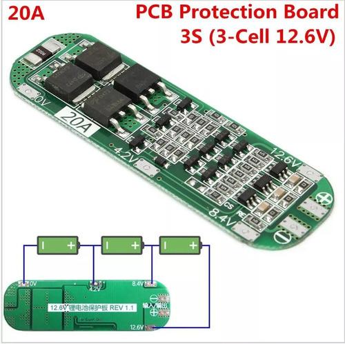 proteção 3s bms pra 3x baterias 18650 li-ion 5a