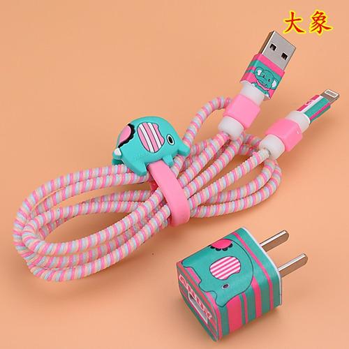 protector cable iphone,usb y cargador decorado