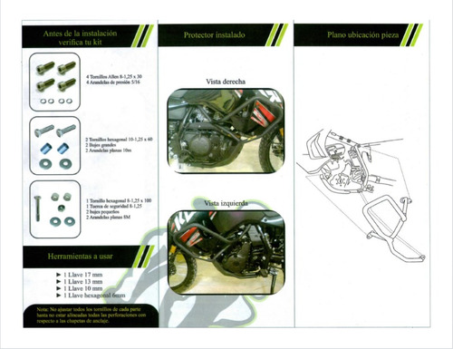 protector carenaje motor klr 650 mototech defensas mataperro