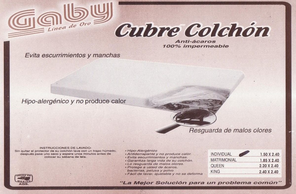 Protector cubre colch n impermeable marca gaby individual for Medidas de colchon individual