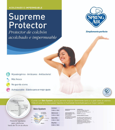 protector cubre colchon spring air impermeable king size