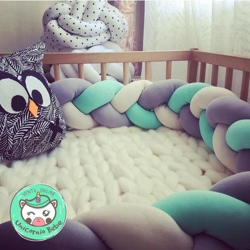 protector cuna trenza cojin bebe tejido 3 colores 2mts ubb