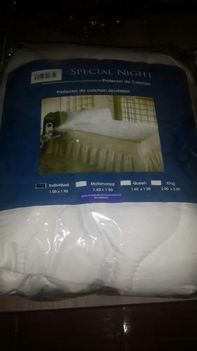 protector de colchón ajustable matrimonial. special nigth.