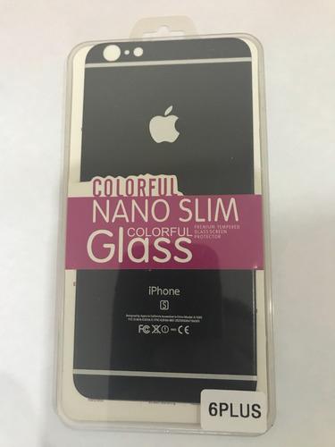 protector de pantalla vidrio + trasero lujo iphone 7 plus 6