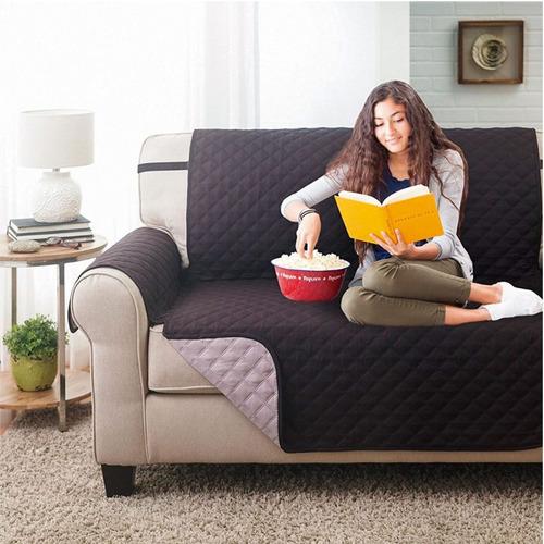 protector de sofa 2 puestos doble faz gris - negro