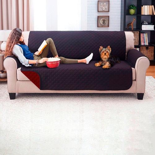 protector de sofa 3 puestos doble faz negro - vinotinto