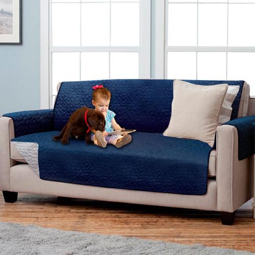 protector de sofá reversible azul gris edredona 2 puestos