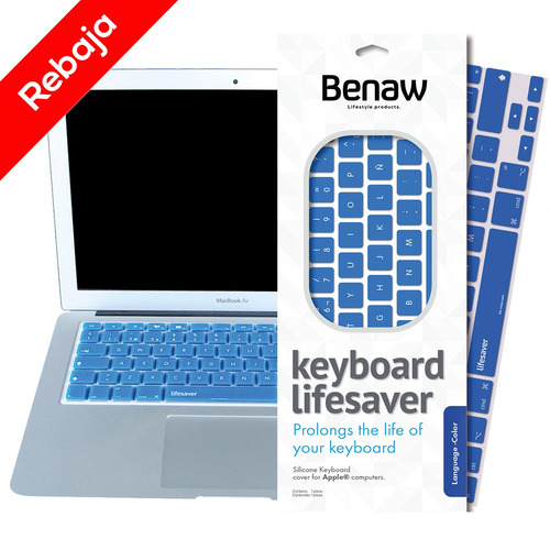 protector de teclado inglés keyboard lifesaver azul 11¨