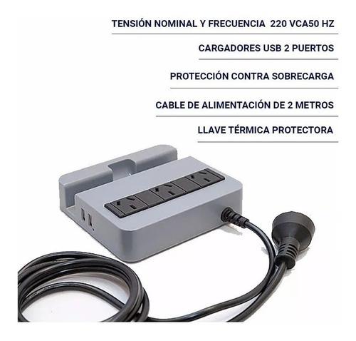 protector de tension c/ estacion de carga usb atomlux r2200