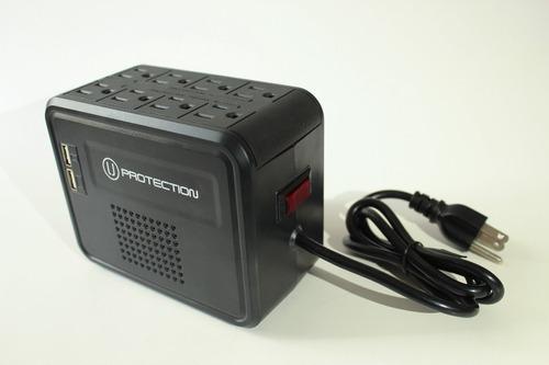 protector de voltaje 8 tomas 2 puerto de carga usb marca u