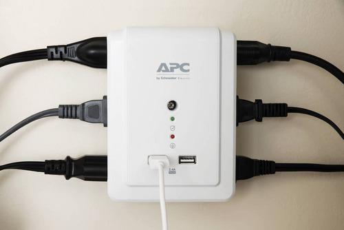 protector de voltaje apc 6 tomas + 2 usb + supresor de picos