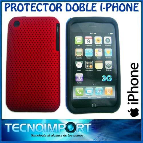 protector doble iphone silicona + acrilico microperforado