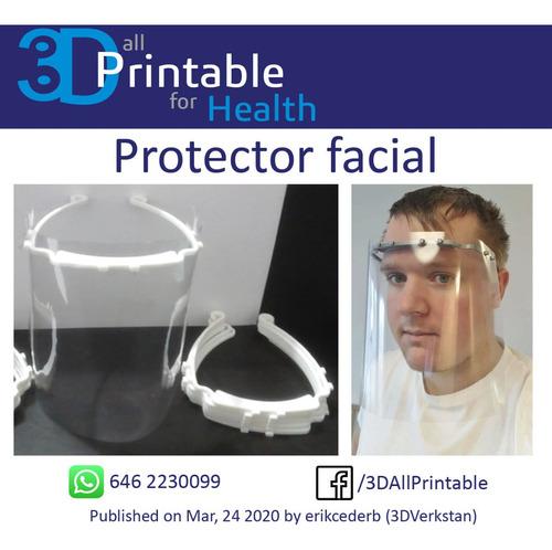 protector facial hecho por impresión 3d.