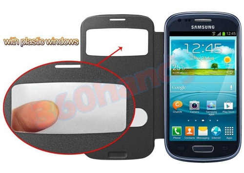 protector flip cover galaxy s3 mini funda slim view +regalo