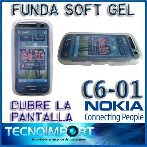 protector funda soft gel nokia c6-01 - cubre la pantalla