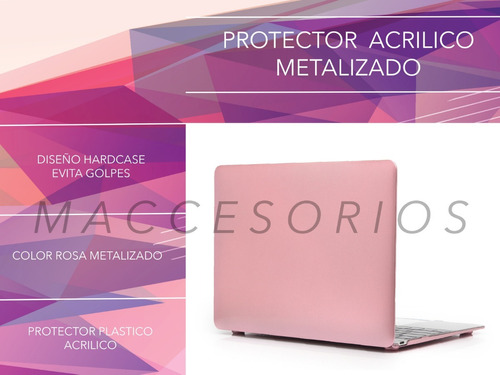 protector macbook acrilico metalizado - rose gold