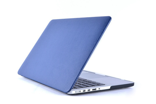 protector macbook acrilico tipo eco cuero azul