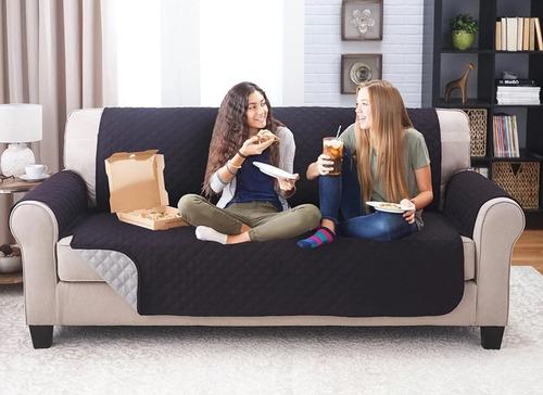 protector sofá negro gris microfibra 2 puestos